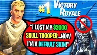 KID GETS BANNED FROM FORTNITE AND LOSES $2000 SKULL TROOPER ACCOUNT!