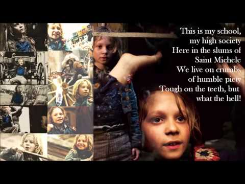 OS MISERÁVEIS   Gavroche's parts (Two songs  lyrics on screen)