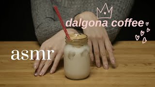 ASMR Dalgona Coffee Recipe (no mixerwhisking by hand)  Tapping, Crinkling, Stirring (no talking)