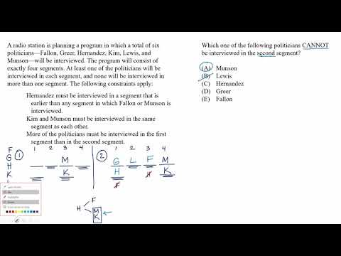 Mixed setup | Cannot be true example | Analytical Reasoning | LSAT | Khan Academy