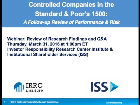 Webinar: Controlled Companies in the Standard & Poor's 1500