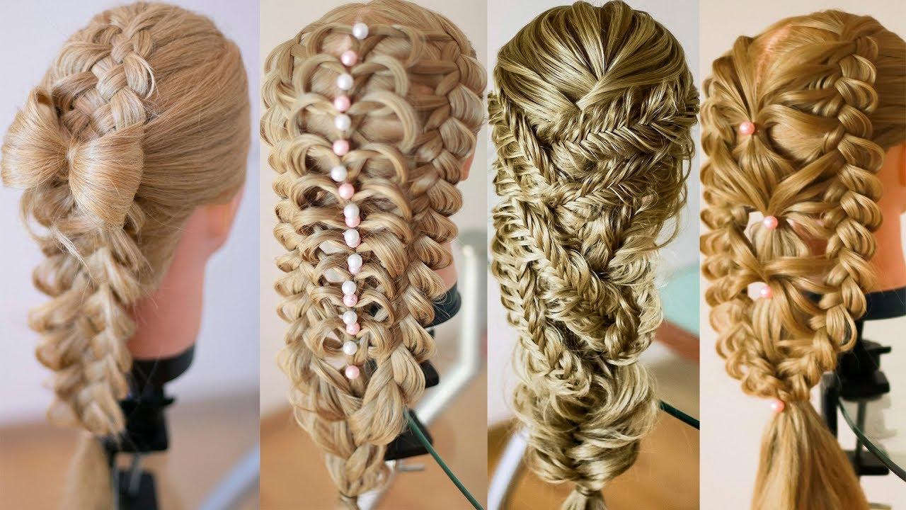 Романтичные причёски из кос на выпускной и последний звонок  Hair tutorial