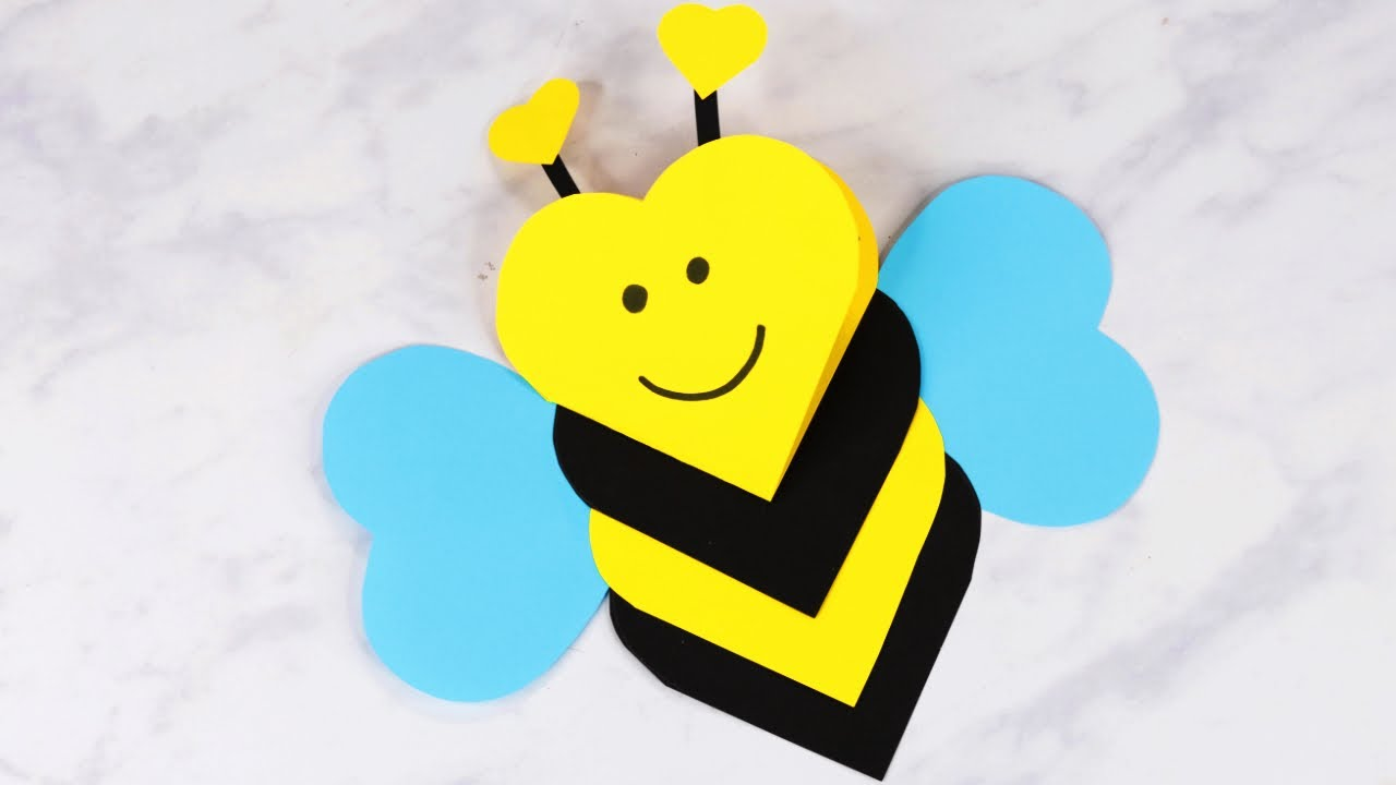 Heart Shaped Bee Valentines Day Craft For Kids Youtube