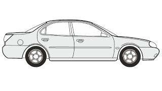 How to Draw a Ford Mondeo / Как нарисовать Ford Mondeo