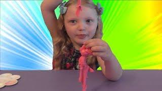Как сделать лизуна из клея ПВА. DIY Slime. Наш первый лизун. Розовый слайм с блестками.