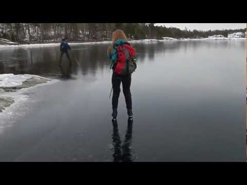 Fearless skating on thin ice with loud sounds of cracking ice