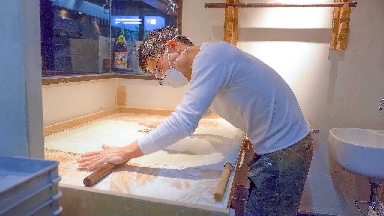 ミシュランの栄光を超えて!自家製からすみ手打ち蕎麦の作り方!ASMR 職人技 京都 蕎麦屋にこら Beyond the Michelin Handmade Soba Dream in Japan!
