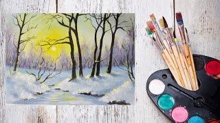 Как нарисовать зиму акрилом! #Dari_Art