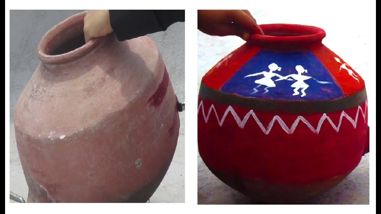 How To Paint A Earthen Pot Decoration Warli Painting On Pot