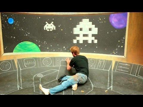 Star Trek Bridge x Space Invaders 3D Chalk Art - AWE me Artist Series