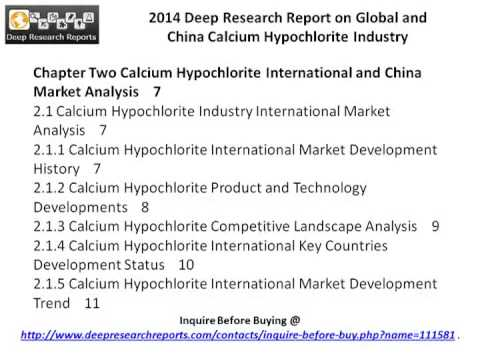 Calcium Hypochlorite Industry around China & World - Market Size, Demand & Forecast to 2019