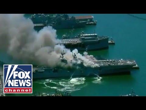 Crews battle 5 alarm fire at Naval Base San Diego