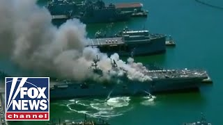 Crews battle 5 alarm fire at Naval Base San Diego