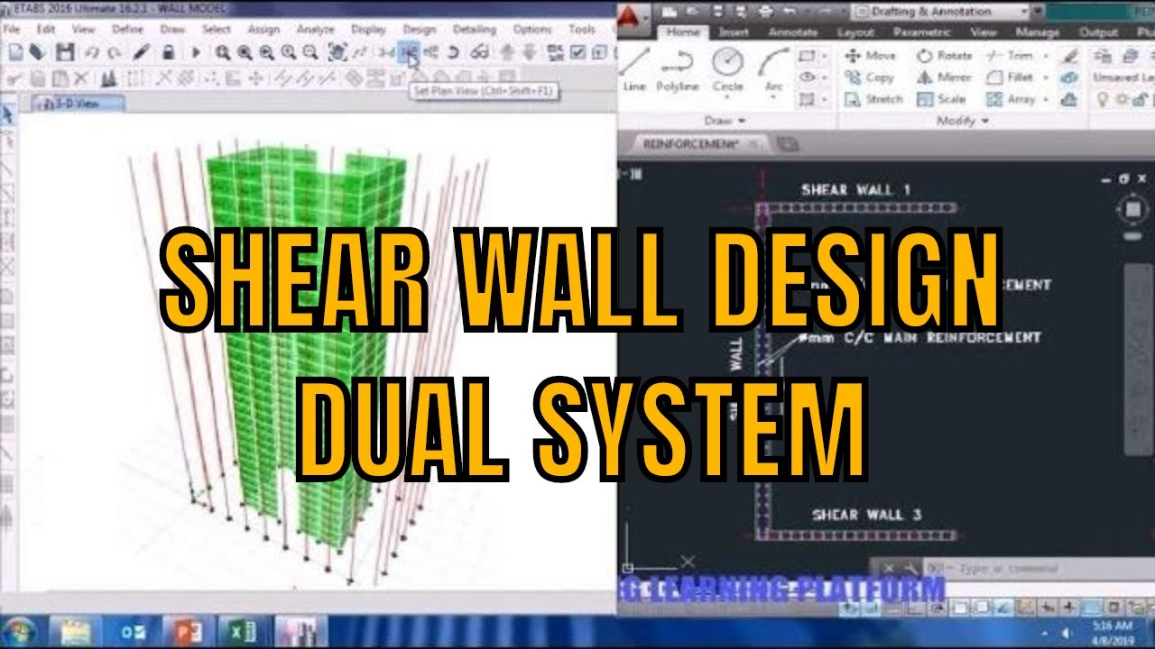Rcc Shear Wall Design For Dual System Using Etabs Tutorial Youtube