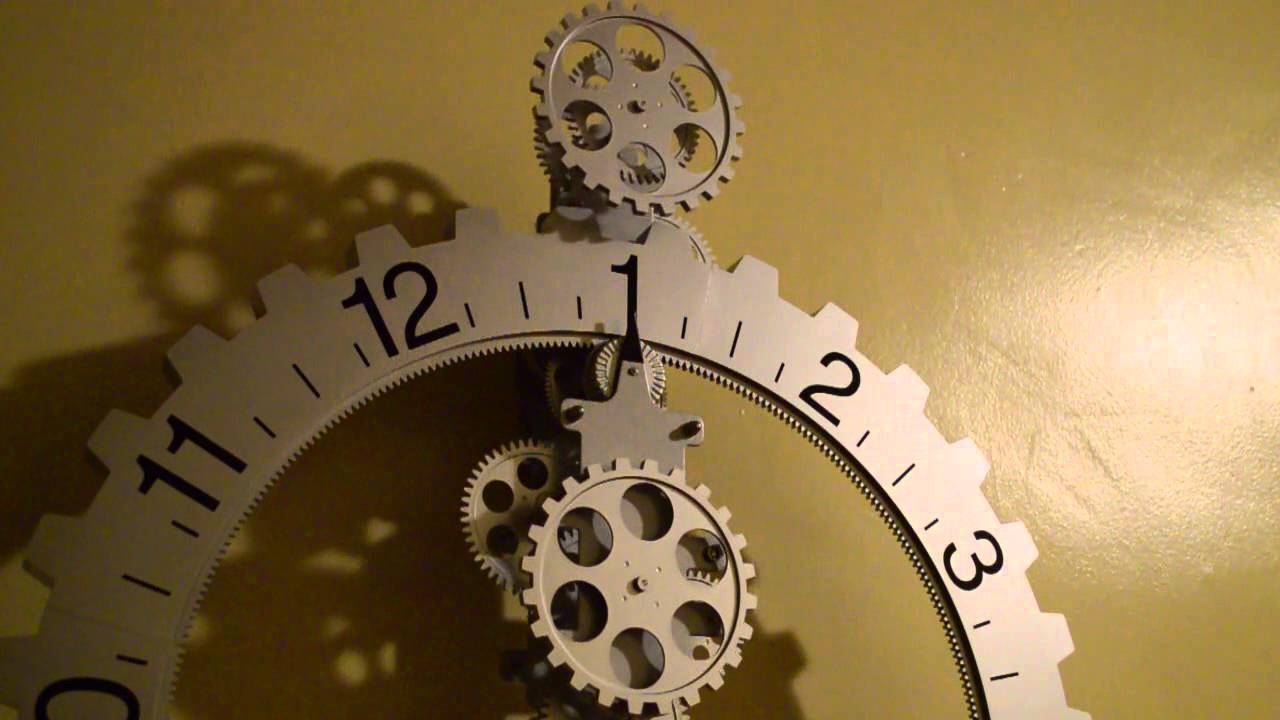 Silver Big Gear Wheel Revolving Wall Clock Timelapse HD YouTube