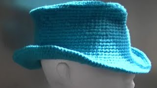 Fedora / Cowboy / Cowgirl Hat Crochet Tutorial Part 1 Of 3