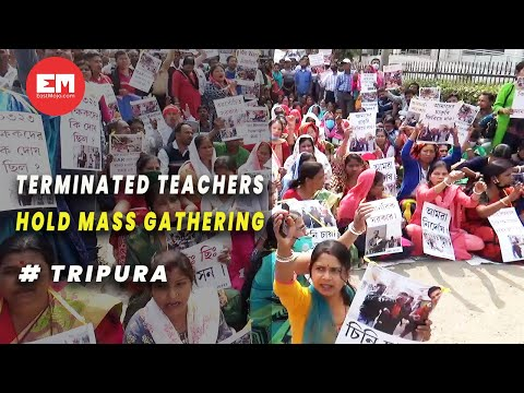 Terminated teachers hold mass gathering to protest against police brutality