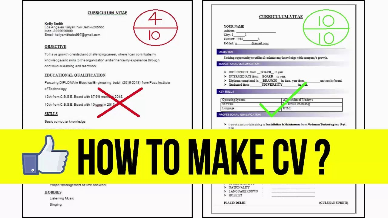 How to Make Professional Resume or CV for fresher and tips ...