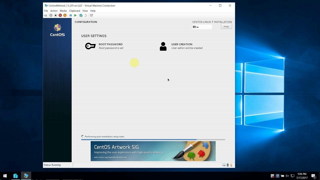 Installing Centos 7 EFI on Microsoft Hyper-V