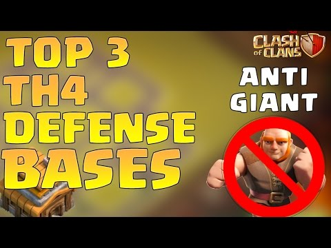 Clash of Clans Top 3 Town Hall 4 (TH4) Defense Base | BEST Farming Base Layout Defense Strategy