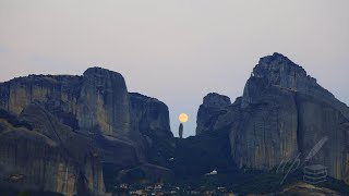 Moon & Saturn Rise Over Meteora, Greece