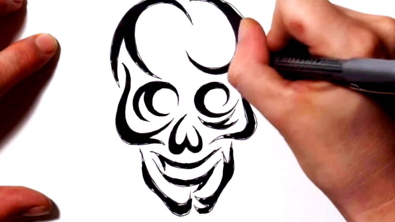 How To Draw A Tribal Skull Tattoo Design