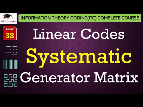 Linear Codes – Systematic Generator Matrix with Solved Examples - ITC Lectures in Hindi(GGSIPU)