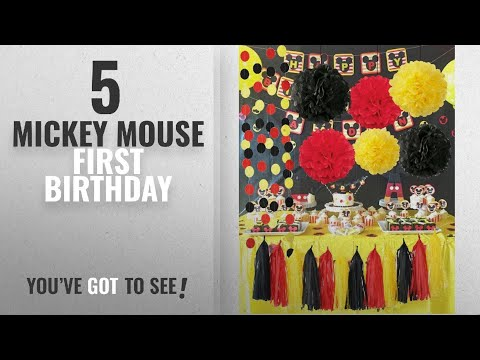 Top 10 Mickey Mouse First Birthday [2018]: Qian's Party Mickey Mouse Color Party Supplies Yellow
