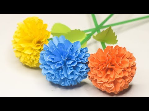 How to Make Beautiful Marigold Flower With Paper   Very Easy