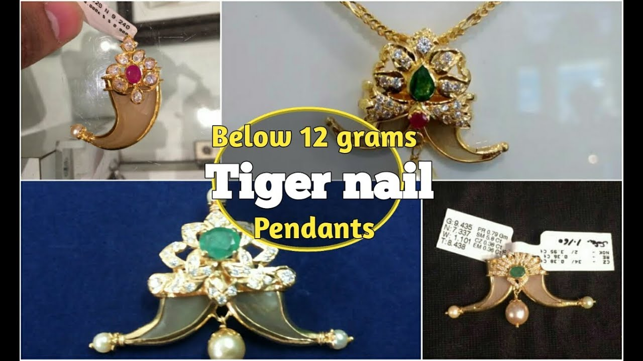 Tiger nail pendant designs | latest puligoru lockets 2017 | below 12 grams  by Sudhakar Gold