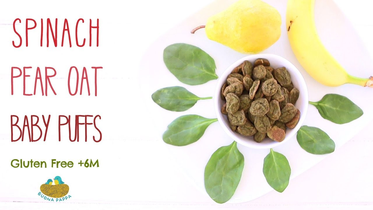 Homemade Baby Puffs: Spinach Pear Oat