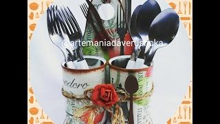 Porta talheres com latinhas recicladas