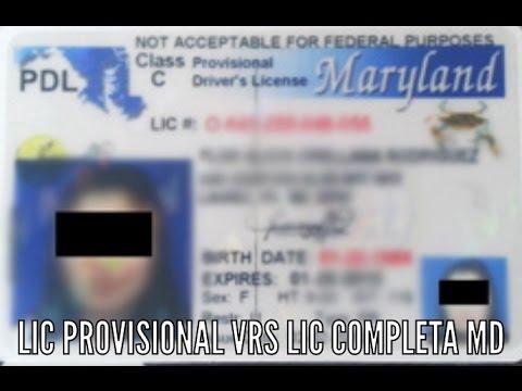 Licencia provisional VS Licencia completa Maryland