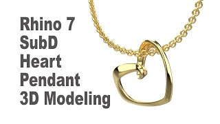 SubD Heart Pendant 3D Modeling With Rhino 7- Jewelry CAD Design Tutorial 186