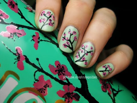 Arizona Green Tea Cherry Blossom Nail Art