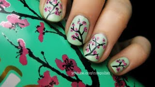 Arizona Green Tea Cherry Blossom Nail Art