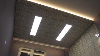 Монтаж потолочного короба с подсветкой и LED панелями