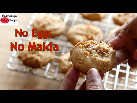 Eggless Atta Biscuit Recipe - How To Make Whole Wheat Cookies | Skinny Recipes