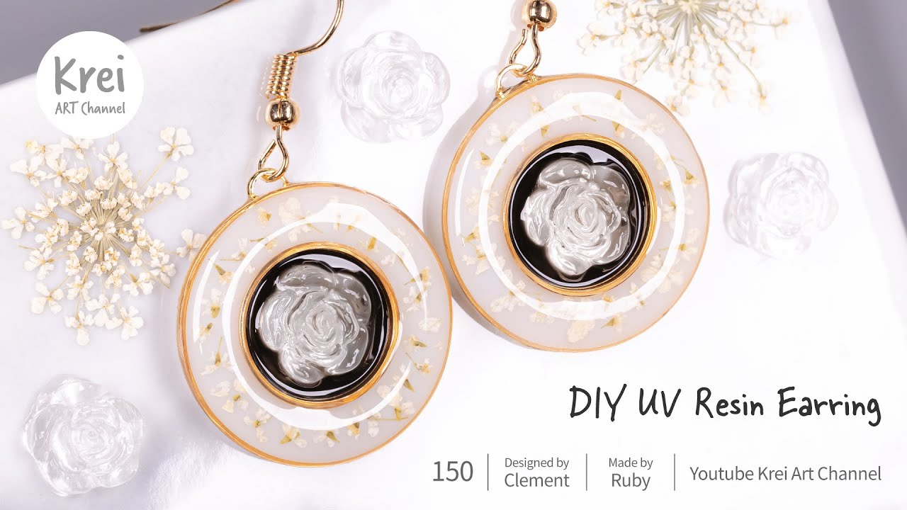 【UVレジン】DIYでドライフラワーを使ってイヤリングを作りました〜♪UV Resin -DIY Dried Flower in UV Resin Earring.