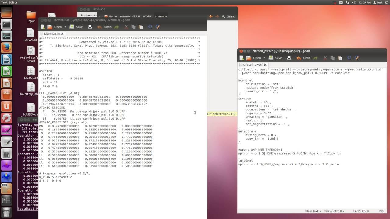 cif2cell (PWscf input)