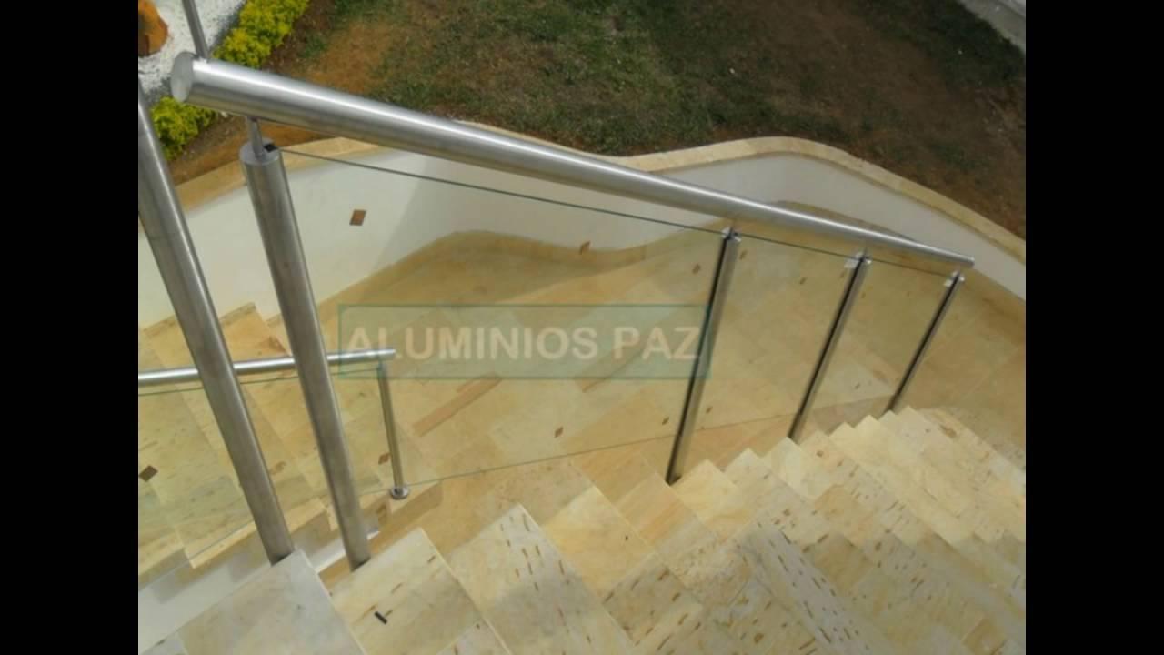 Pasamanos en acero inoxidable con vidrio templado para - Escaleras de acero ...