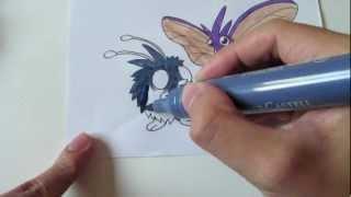 How to draw Pokemon: No. 48 Venonat, No. 49 Venomoth