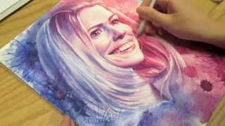 Watercolor painting process: Rose Tyler