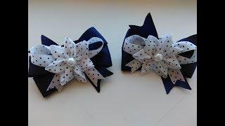 Бантики в школу из лент МК Канзаши / Ribbon school ribbon Kanzashi MK