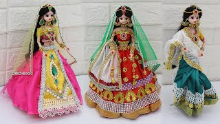 3 South indian bridal dress and Jewellery | 3 Doll decortion ideas |20