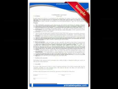 Free printable Confidentiality Agreement Forms YouTube – Printable Confidentiality Agreement