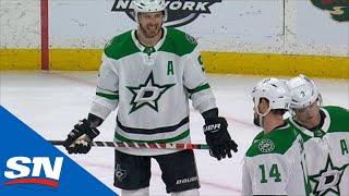 Jamie Benn Fans On A One-Timer Attempt, Falls To The Ice