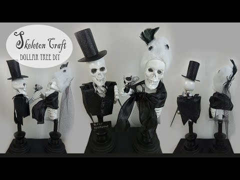 Dollar Tree DIY Skeleton Art / Halloween Craft