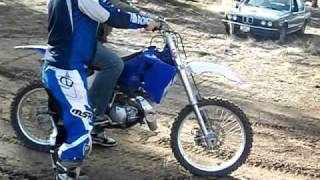 Spoon rides a dirt bike for the first time and loops out!