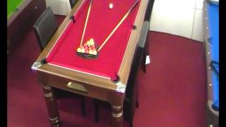 Majestic 6ft Pool Dining Table   Dark Walnut With Cherry Red Cloth